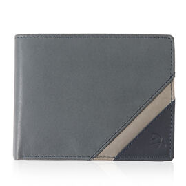 Close Out Deal - Genuine Leather Wallet Grey and Blue