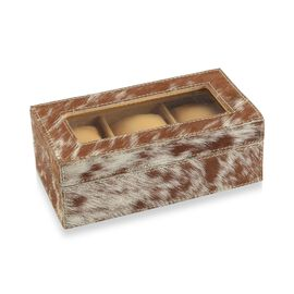 Brown and White Hair-on Natural Leather Watch Box with Three Sections (Size 21x11x7.5 Cm)