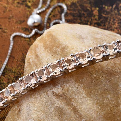 Imperial Topaz (Rnd) Friendship Bolo Bracelet (Size 6.5-8) in Platinum Overlay Sterling Silver 4.250 Ct.