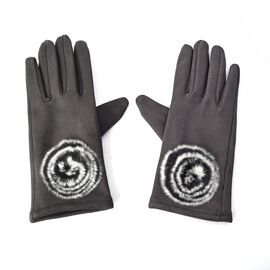 Solid Colour Women Winter Gloves with Rose Shaped Faux Fur on the Wrist (Size 8.9x22.9 Cm) - Dark Gr
