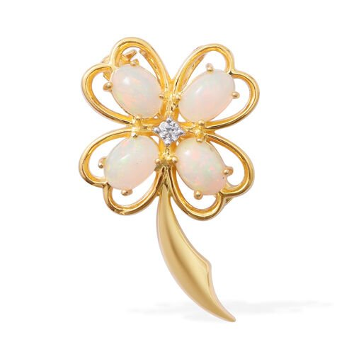 Designer Inspired-Ethiopian Opal (Pear),Cambodian Natural Zircon in 14k Gold Overlay Sterling Silver Brooch 2.046  Ct.