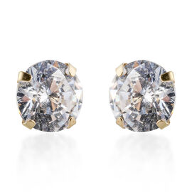 9K Yellow Gold Simulated Diamond (Rnd 5mm) Earrings (with Push Back)