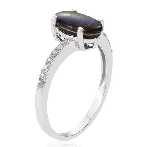 Canadian Ammolite (Ovl 12x7mm), Natural Cambodian Zircon Ring in Platinum Overlay Sterling Silver 2.250 Ct.