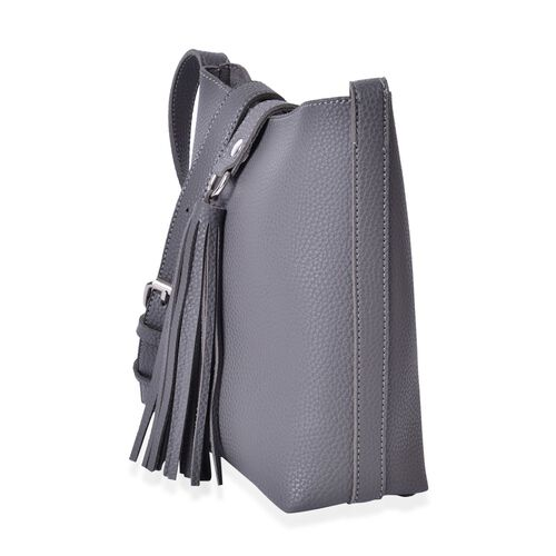 Grey Colour Crossbody Bag with Adjustable Shoulder Strap and Tassels (Size 21x20x8 Cm)