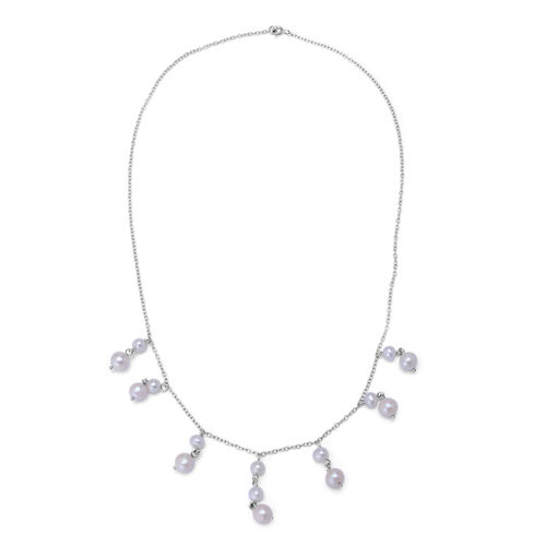 Fresh Water White Pearl Necklace (Size 20) in Sterling Silver