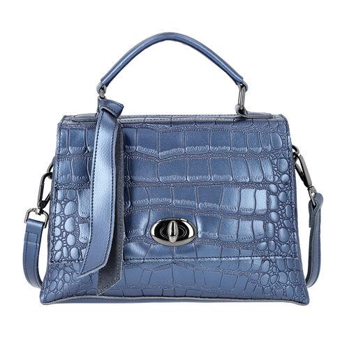 100% Genuine Leather Croc Embossed Satchel Bag with Detachable Shoulder Strap (Size 26.5x10.5x18.5 C