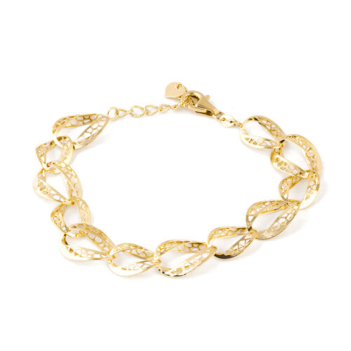 Designer Inspired- 9K Yellow Gold Diamond Cut Oval Link Bracelet (Size 7.5 and 1 inch Extender) Gold Wt 5.20 Gms