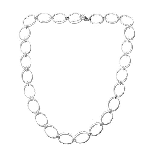 Designer Inspired- Sterling Silver Rope Work Ellipse Shape Necklace (Size 18).Silver Wt 11.50 Gms