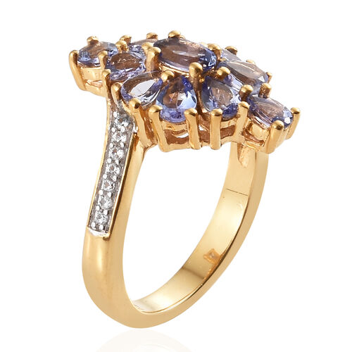 Tanzanite (Ovl), Natural Cambodian Zircon Cluster Ring in 14K Gold Overlay Sterling Silver 1.750 Ct.