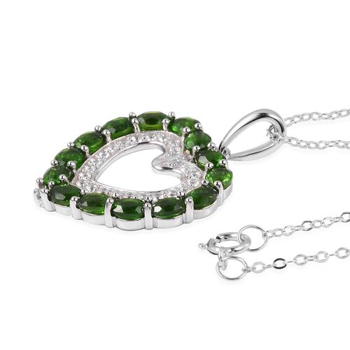 Russian Diopside (Ovl), Natural White Cambodian Zircon Heart Pendant With Chain (Size 18) in Rhodium Overlay Sterling Silver 3.380 Ct.