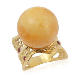 Butterscotch Baltic Amber (Rnd 16mm), Red Austrian Crystal Ring in 14K Gold Overlay Sterling Silver,
