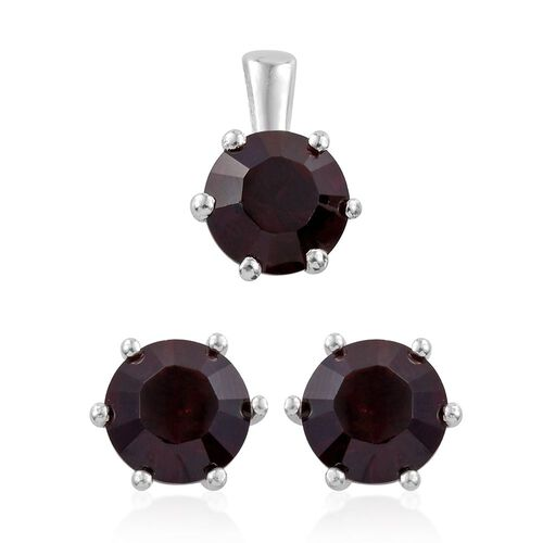 J Francis Crystal from Swarovski - Garnet Colour Crystal (Rnd) Solitaire Pendant and Stud Earrings (with Push Back) in Sterling Silver