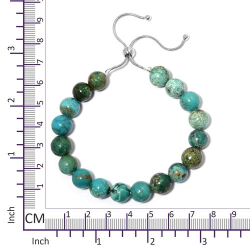 Limited Available - Extremely Rare Anuhi Turquoise (Rnd 9-11 mm) Adjustable Beads Bracelet (Size 6.5 - 8.5) in Sterling Silver 64.000 Ct.