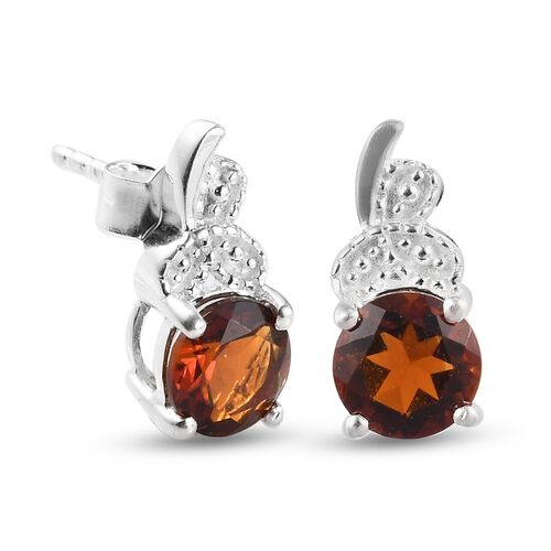Cherry Citrine Earrings (with Push Back) in Sterling Silver 1.50 Ct.