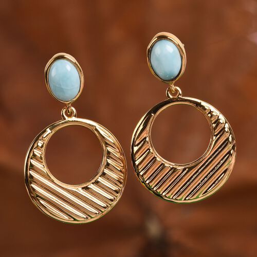 Larimar Earrings (with Push Back) in 14K Gold Overlay Sterling Silver 2.00 Ct, Silver wt 5.85 Gms