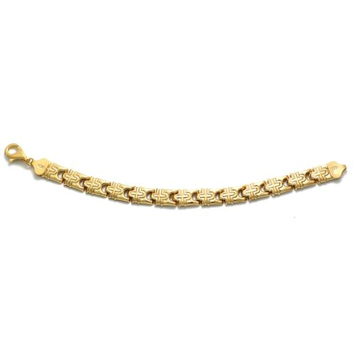 Viale Argento Yellow Gold Overlay Sterling Silver Bracelet (Size 7.5)