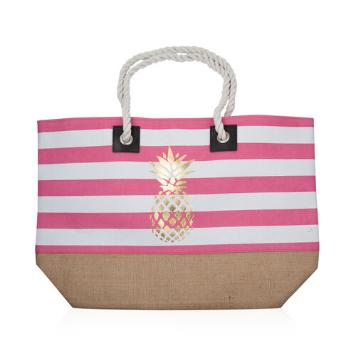 Close Out Deal Pink and White Colour Stripe Pattern Beach Bag (Size  53x35x16 Cm)