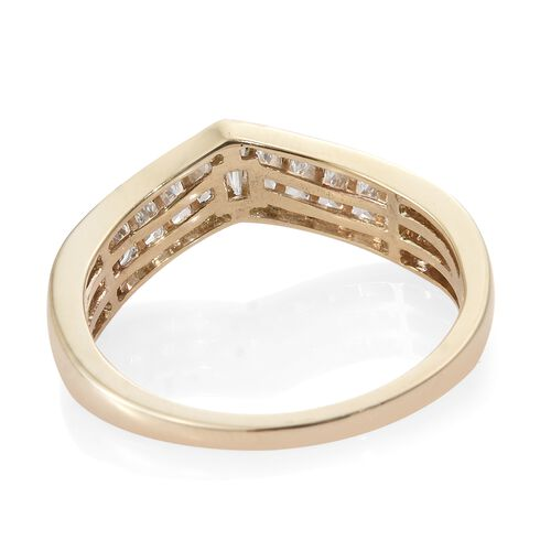 J Francis - 9K Yellow Gold (Bgt) Wishbone Ring Made with SWAROVSKI ZIRCONIA