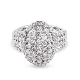Moissanite  Cluster Ring in Platinum Overlay Sterling Silver 1.39 ct  1.526  Ct.