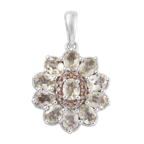 Natural Turkizite (Ovl), Natural Champagne Diamond Pendant in Platinum Overlay Sterling Silver 2.000