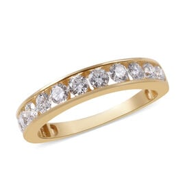 ILIANA 1 Carat Diamond Half Eternity Band Ring in 18K Gold 4.43 Grams IGI Certified SI GH