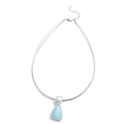 Russian Amazonite, White Shell Pearl Necklace (Size 16 with 2 inch Extender) in Stainless Steel 20.0
