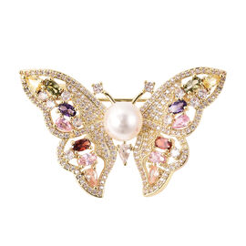 Simulated Multi Colour Gemstone and White Shell Pearl Butterfly Brooch in Gold Tone
