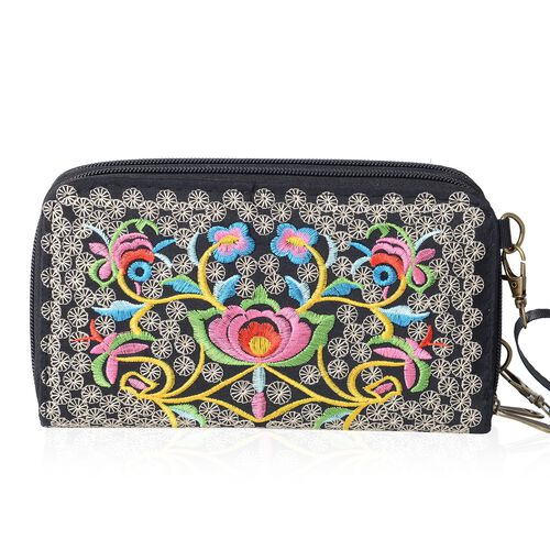 ShangHai Collection Floral Embroidery  Long Wallet with Adjustable and Removable Shoulder Strap (Size 19x10x4 Cm )