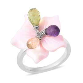 Jardin Collection - Pink Mother of Pearl, Hebei Peridot, Amethyst and Citrine Floral Ring in Rhodium