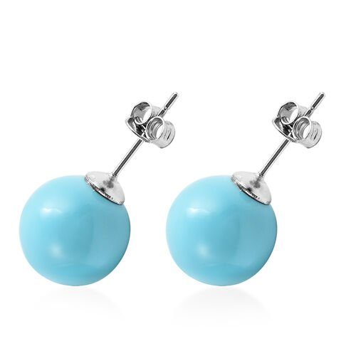 Blue Shell Pearl Stud Earrings in Rhodium Overlay Sterling Silver