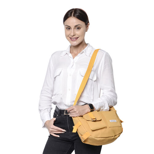 PASSAGE Yellow Colour Crossbody Bag with Flap and Slip Pockets in Front and Zipper Pocket in Back (36x11x24cm)