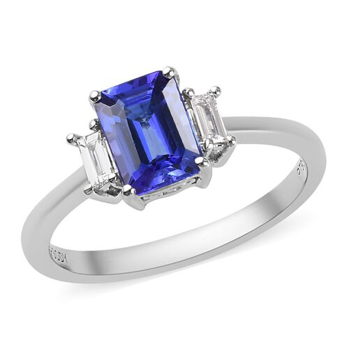 RHAPSODY 1.10 Ct AAAA Tanzanite and Diamond Solitaire Ring in 950 Platinum VS EF