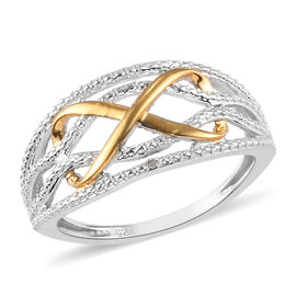Diamond Infinity Ring in Yellow Gold and Platinum Overlay Sterling Silver