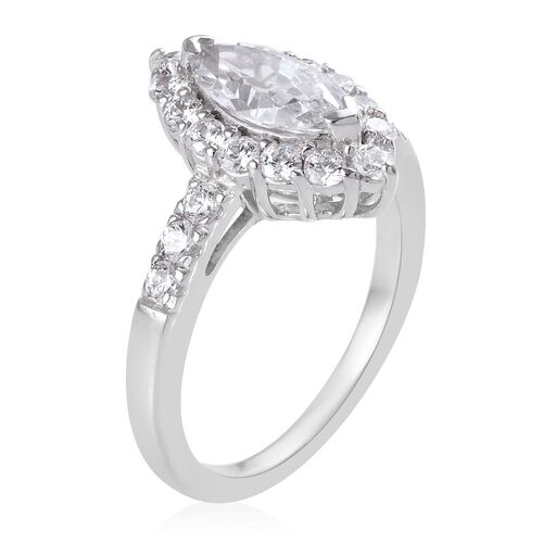J Francis - Platinum Overlay Sterling Silver Marquise Ring Made with SWAROVSKI ZIRCONIA 1.55 Ct.