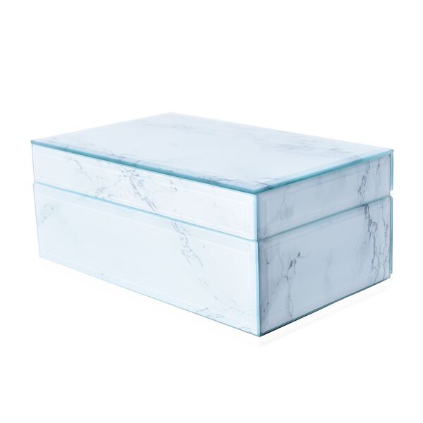 Marble Glass Jewellery Storage Box with Inside Mirror, 7 Ring Rows, 4 Necklace Hook with Pouch and 4 Sections (Size 21x13x8.5 Cm) - White Magnesite