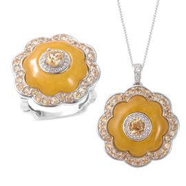Honey Jade, Citrine and Natural Cambodian White Zircon Ring and Pendant With Chain (Size 18) in Rhod