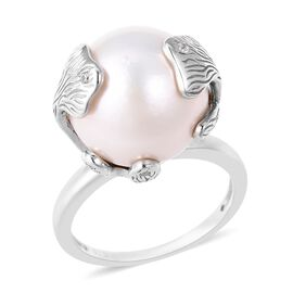 Edison Pearl and Natural White Cambodian Zircon Solitaire Ring in Sterling Silver