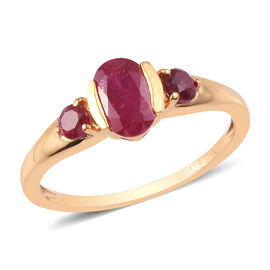 African Ruby Ring in 14K Yellow Gold Overlay Sterling Silver 1.300  Ct.