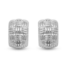 Rhodium Overlay Sterling Silver J Hoop Earrings (with Push Back)