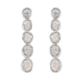 Natural Polki Diamond Earrings (with Push Back) in Platinum Overlay Sterling Silver 1.20 Ct.