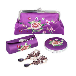 4 Piece Set- Peony Flower Embroidered Coin Purse, Dual Sided Compact Mirror, Lipstick Case and Simul