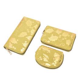 Set of 3 -  Golden Leaves Pattern Jute Wallet with Zipper Closure (Size 19x3x9 Cm) - Light Yellow -