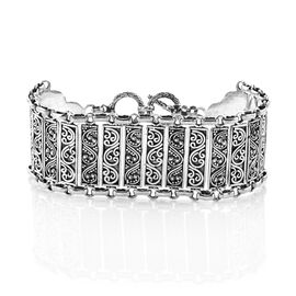 Royal Bali Collection Sterling Silver Vibrant Ocean Waves Bracelet (Size 7.5), Silver wt 28.00 Gms