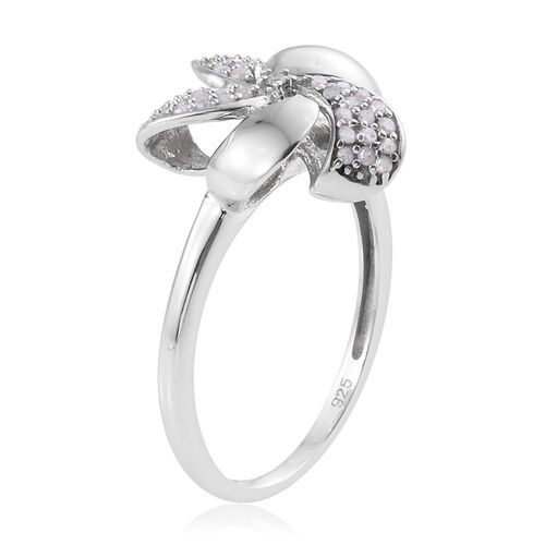 0.25 Carat Diamond Floral Ring in Platinum Overlay Sterling Silver