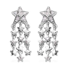 GP Diamond and Blue Sapphire Shooting Star Dangle Earrings in Platinum Plated Sterling Silver