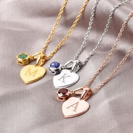 Personalised Engraved Initial and Birthstone Heart Pendant with 20Inch Chain in Silver
