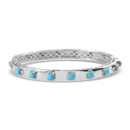 Arizona Sleeping Beauty Turquoise Bangle (Size 7.5) in Platinum Overlay Sterling Silver 4.36 Ct, Sil