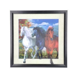5D Horses Painting (Size: 43.5x43.5x4.5 Cm) - Blue and Multi