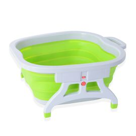 Foldable Foot Basin (Size 18x45.5x38.5 Cm) - Grey and Green