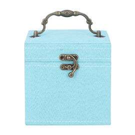 Teal Velvet 3 layer jewelry box with mirror vintage style handle and lock